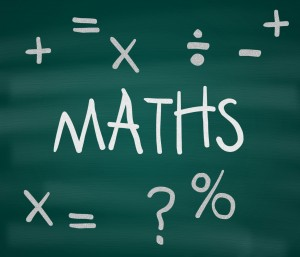 The word Maths, along with mathematical symbols, written on a green chalkboard