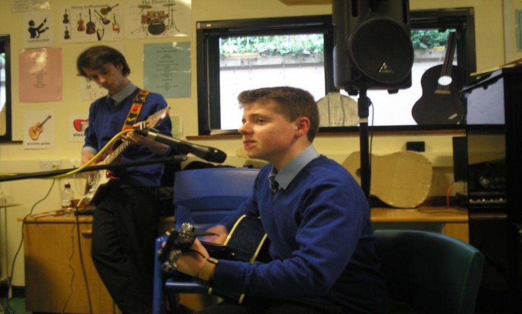 Niall McCrystal rehearsing his GCSE ensemble piece.