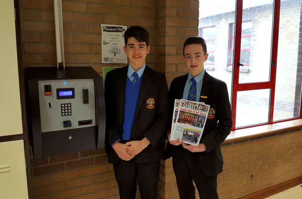 Year 13 students Jacob Corry and Pauric Mullan help to launch the competition