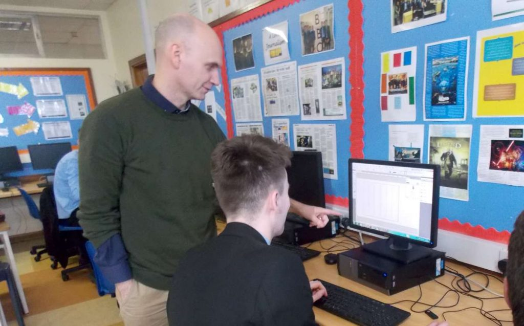 Past Pupil Mr Peter Meehan sharing his expertise with AS Journalism students Shane Pratt