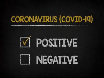 Coronavirus covid-19 test results made in chalk on blackboard